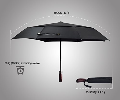 An opened up Balios umbrella, with dimensions