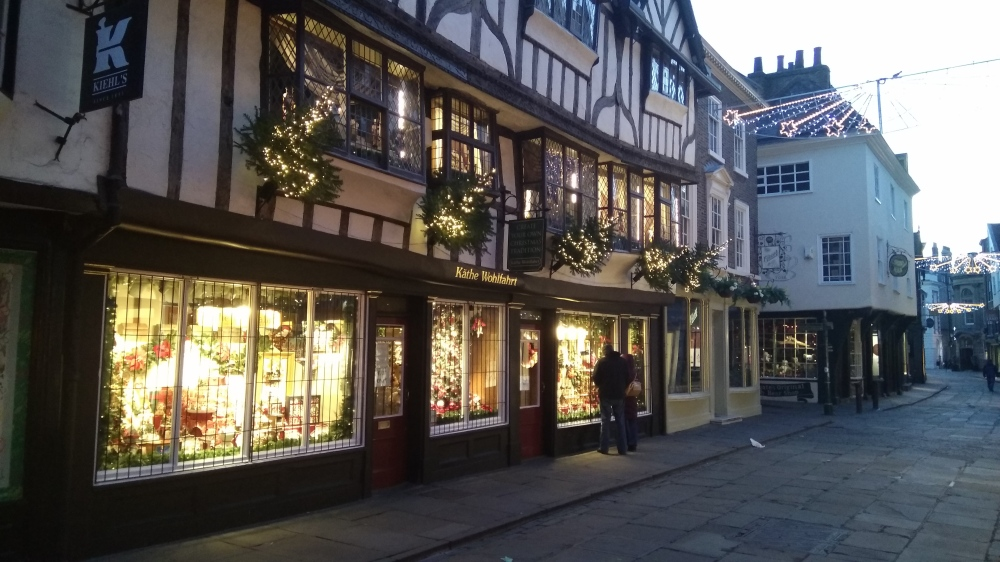 Shop in York with Christmas lights and decoration