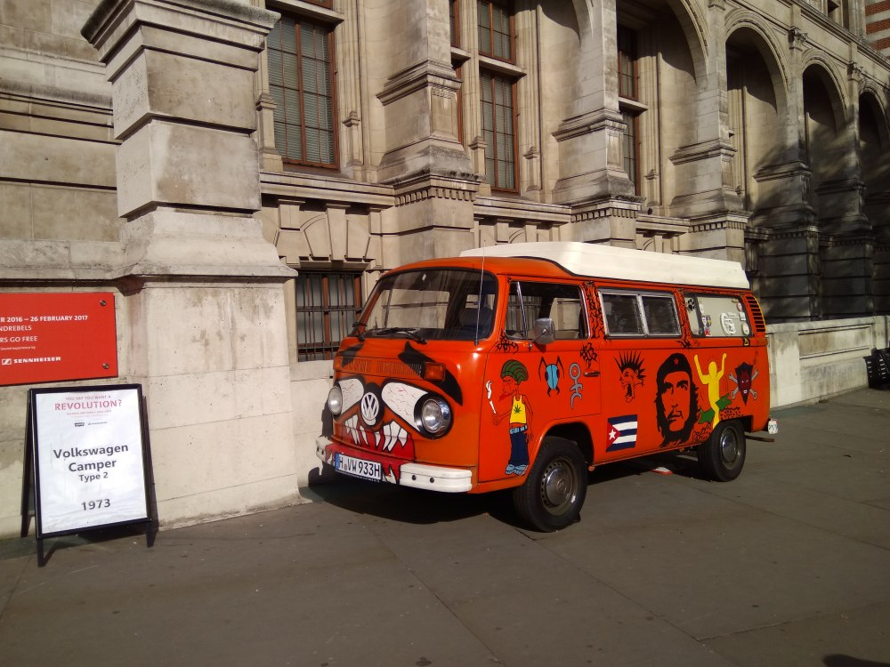 """Hippie"" and colourful van outside Victoria & Albert Museum"