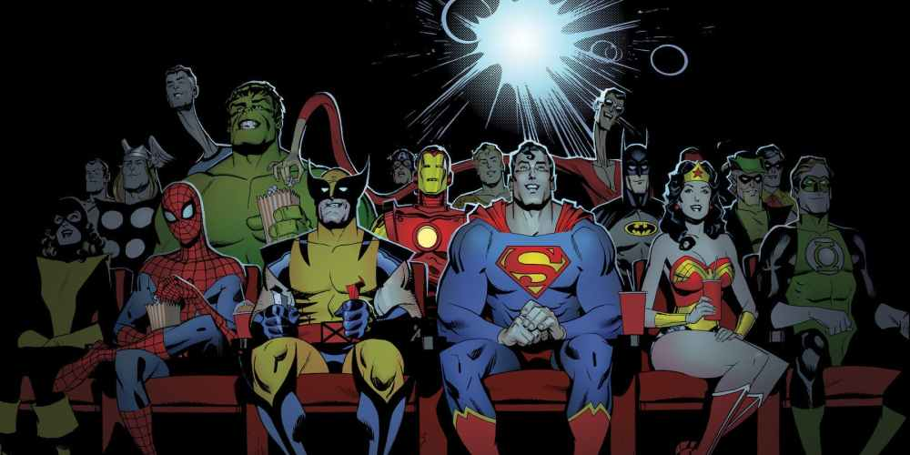 Just part of the Marvel and DC family, watching a movie together, chilling...