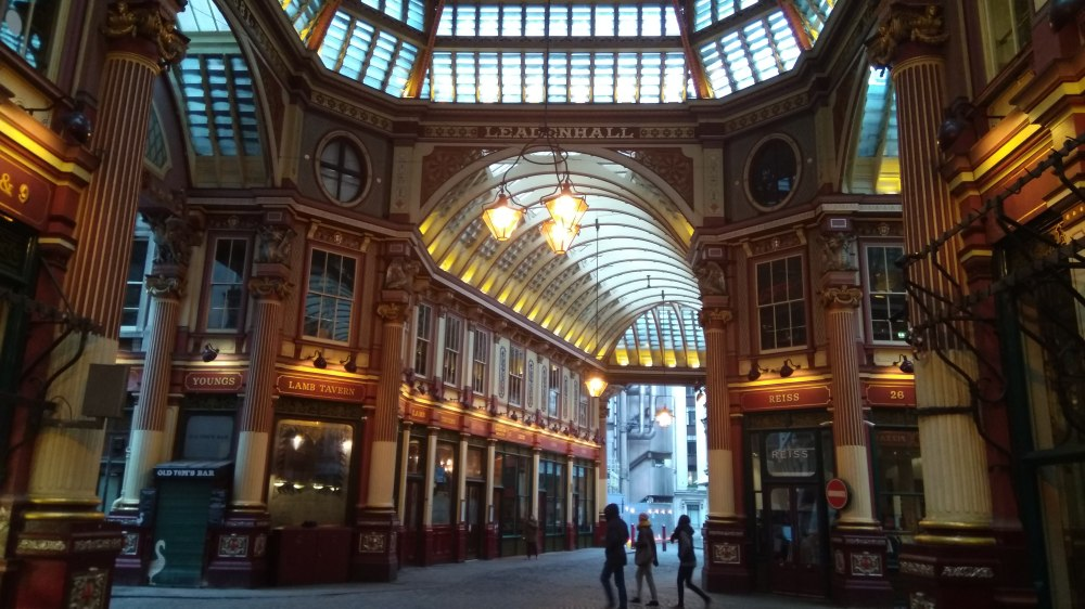 Inside Leadenhall Market. Beautiful colours, architecture and design make it a wonder to see and experience. The shops, pubs, cafes and restaurants aren't bad either! Proper British feel.