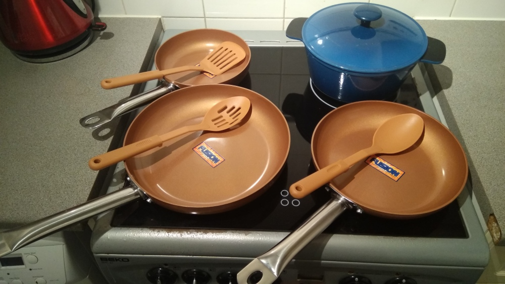 The set of 3 copper frying pans, in different sizes, I bought from DEIK's.